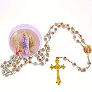 CBC Blue Rose Flower Our Lady of Lourdes Rosary Beads in Box Gold ()
