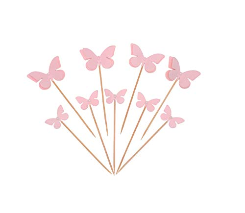 Butterfly Cupcake Toppers (Set of 25 Butter Fly Cupcake Muffin Dessert Toppers with Pearl Elegant Cute for Birthday Wedding Engagement)