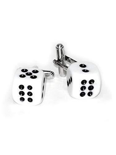 Dice Silver Cufflinks - Krisar Silver-Tone Men's Cuff Links Pair of Black DICE Shaped Cufflinks