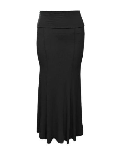 Plus Size Black Flared Long Skirt Elastic Waist