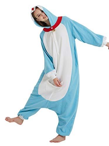 Olyc Unisex Animal Pajamas for Adult Teen One Piece Cat Halloween Cosplay Costume Doraemon M -