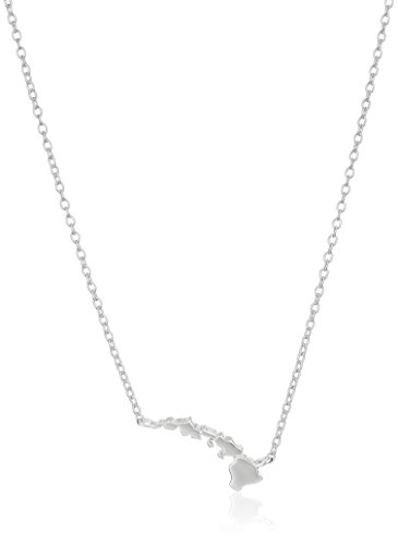 "Sterling Silver Stationed Mini State Hawaii Pendant Necklace, 16""+2"" Extender"