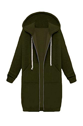 Le Jumojufol Casuale Cordoncino Incappucciati Giacca Pieno Sweatershirts Donne Zip Armygreen dTT1vwU