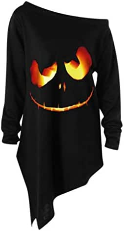 Halloween Shirts for Women Plus Size Print Funny Fashion Long Sleeve Tops Skew Collar Tees Hot Style Clothing