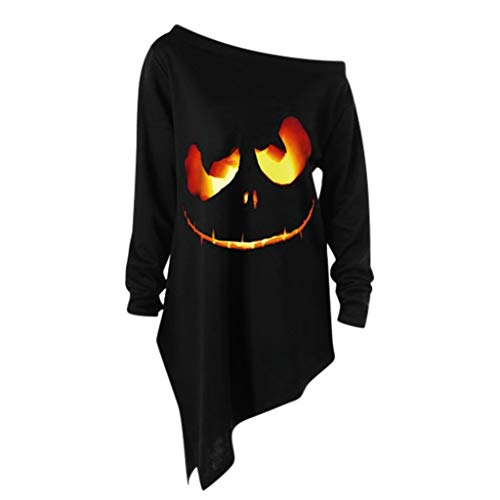 Halloween Oxford 2019 (Off Shoulder Blouse for Women,MOHOLL Loose Halloween Sweatshirt Slouchy Witch Shirt Long Sleeve Pumpkin Pullover)