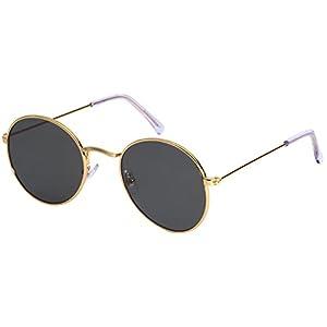 Edge I-Wear Lightweight Round Metal Sunglasses W/Flat Lens 25075A-FLREV-4(G W/G15)