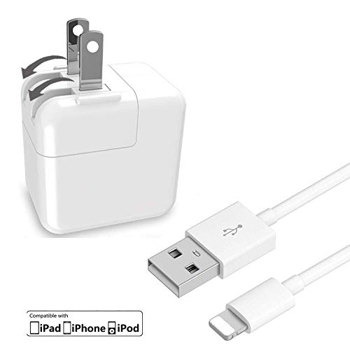 (Zebra Tech compatible with iPad Charger Lightning Cable (Travel USB Wall Charger/Plug/Power Adapter) for iPhone 5/5C/5S/6/6/7/7 Plus IPad 2, IPad Air, All Devices Bundle Package)