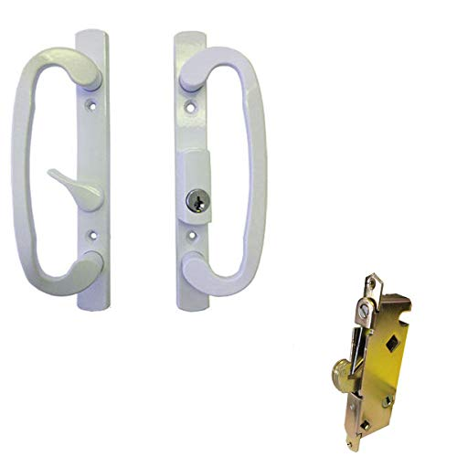 Sliding Glass Patio Door Handle Set with Mortise Lock, White, Keyed, 3-15/16 Screw Holes by TechnologyLK (Sliding Outside Door Handle)