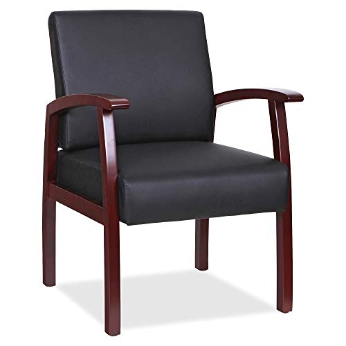 Lorell LLR68556 Black Leather/Wood Frame Guest Chair