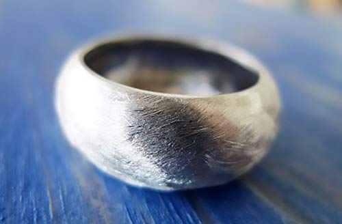 India Style. Incredible Chunky Statement Wide Sterling Silver Ring. Textured Man Wedding Band. Handmade Unpolished Recycled Silver Ring.