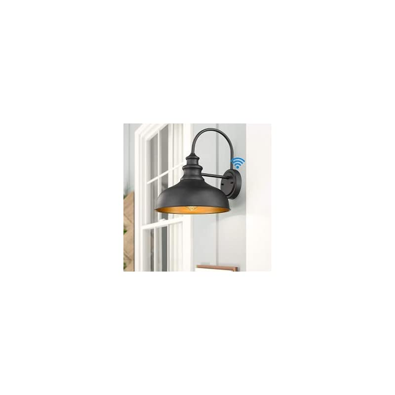 Bestshared Dusk to Dawn Sensor Farmhouse Gooseneck Barn Light, Outdoor Wall Sconce, Outdoor Black FinishLantern for Porch with Contrast Color Interior