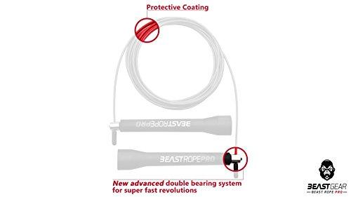Beast Rope Pro de Beast Gear – Comba para Saltar de Alta Velocidad para Fitness y Acondicionamiento. Para CrossFit, Boxeo, MMA, Saltos Dobles, Ejercicios de Alta Intensidad y a Intervalos