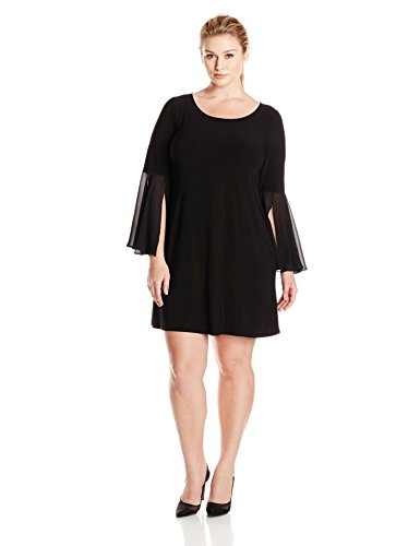 MSK Women's Plus-Size Round Neck, Knit-to-Woven Solid Bell Sleeve- Plus, Black, 1X