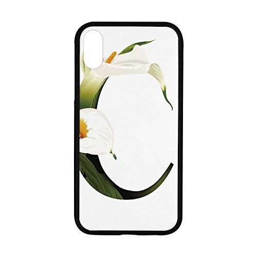 Letter C Rubber Phone Case,White Lily Flower Nature Inspirations Art Alphabet Letter C ABC Print Compatible with iPhone - Alphabet Lilys Little