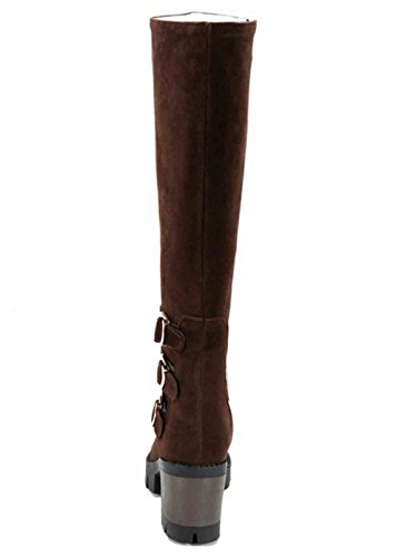 Toe High Heel Womens Platform Easemax Side Zipper Round Boots Buckled Block Brown Stylish Belt Knee Mid dXOxPUO