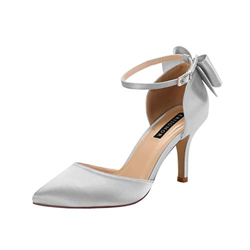 ERIJUNOR E1876B Wedding Evening Party Shoes Comfortable Mid Heels Pumps with Bow Knot Ankle Strap Wide Width Satin Shoes Silver Size 8 (Elegant Silver Satin)
