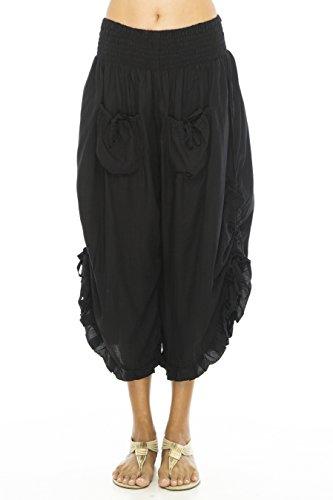 (Back From Bali Womens Wide Leg Comfort Elastic Waist Crop Ruffle Hem Audi Pants Black S/M)