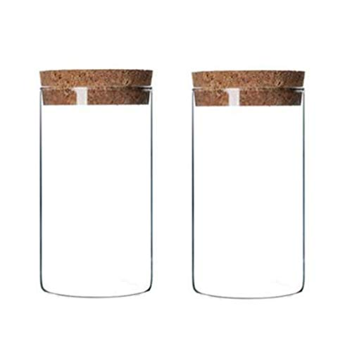 2Pcs 300ml/10oz Empty Clear Glass Bottles with Cork Stopper - Refillable Dry Food Goods Storage Container Vial Jars For Flower Tea Dry Fruit Nuts Candy Seasoning and Other Small Items ()