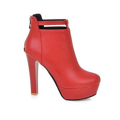 talón de Comfort caminando casual vestir Botas Stiletto Black Mujer polipiel Otoño Invierno hebilla RvWAqg6