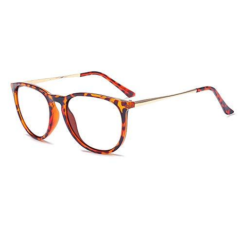 (Dollger Retro Round Glasses Frames Brand Style Women's Eyeglasses Classic Vintage Design Leopard frame/Transparent Lens)