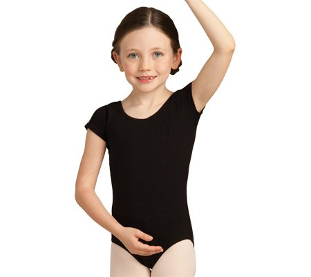 Capezio Dance Girls' Short Sleeve Leotard CC400C ,Black,US I