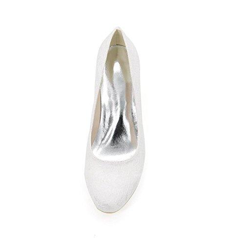 L@YC Mujeres De TacóN alto De Primavera De OtoñO CóModo SintéTico De La Boda 1195-01a & Evening Dress Fine Heel White