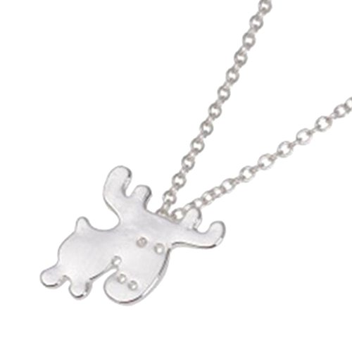 BFF Jewelry Cute Animal Deer Necklace Elk Reindeer Moose Pendant Necklaces Silver Plated Polished for Girls Women