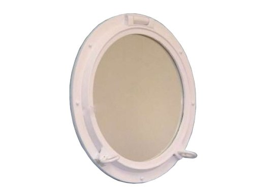 - Hampton Nautical  Gloss White Porthole Mirror, 20