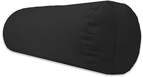 (YogaAccessories Supportive Round Cotton Yoga Bolster - Black)