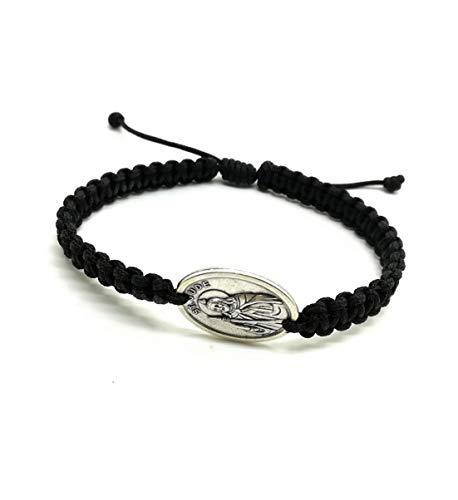 MedjugorjeStoneGifts Saint Judas Thaddeus Apostle Adjustable Religious Bracelet/St Jude Medal Catholic Bracelet (Black)