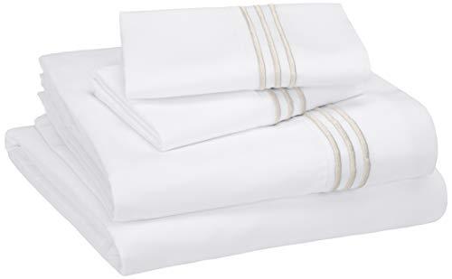AmazonBasics Embroidered Hotel Stitch Sheet Set - Premium, Soft, Easy-Wash Microfiber - King, Embroidered Taupe