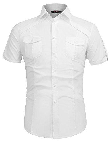 Paul Jones Men Fashion Designer Dress Shirts Stylish Short Sleeve Shirt CL4404 (L, White)