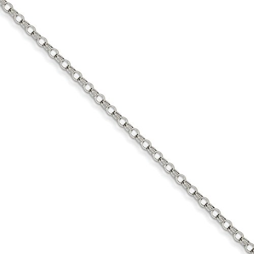 "Or blanc 14 carats 3 mm-Double Link Bracelet à charms-Fermoirs Mousquetons - 8 ""JewelryWeb -"