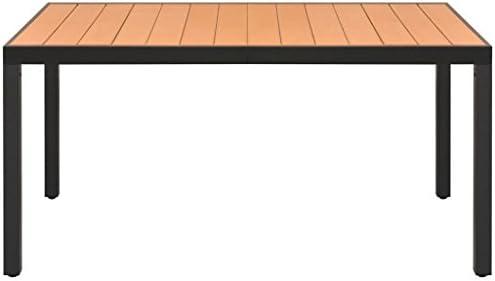 Luckyfu Mesa de Comedor para jardín WPC Aluminio 150 x 90 x 74 cm ...