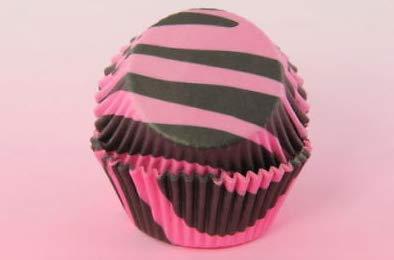 2'' Standard Size Cupcake Liner, Baking Cup, Black Pink Zebra, Lot Size: 100~200