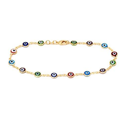 Anklet Ankle Eye Bracelet - Barzel 18k Gold Plated Evil Eye Anklet Bracelet (Multicolor)
