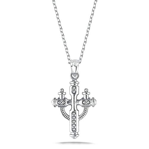 Aeici Sterling Silver Necklace Chain Cross Silver Crystal Necklace Chain