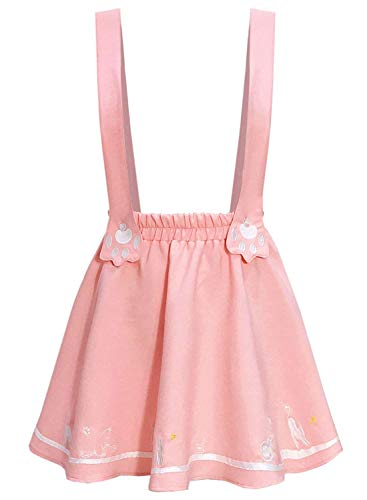Doballa Women's Cute Cat Paw Embroidered Adjustable Suspender Lolita Mini Skirt (L, Pink) ()