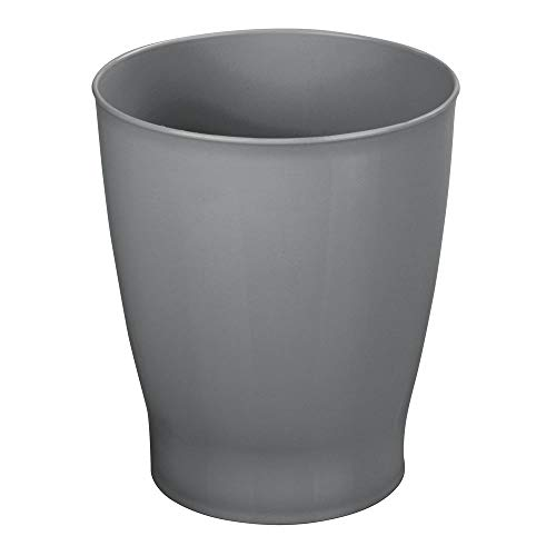 mDesign Slim Round Plastic Small Trash Can Wastebasket, Garbage Container Bin for Bathrooms, Powder Rooms, Kitchens, Home Offices, Kids Rooms - Charcoal Gray
