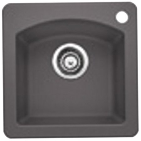 Blanco 441477 Silgranit II Diamond Bar Sink, Cinder