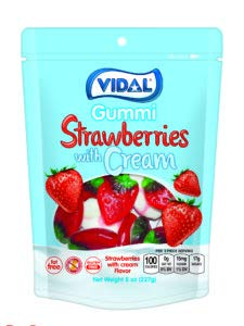 (Vidal Strawberries with Cream Gummi Candy, Resealable 8 ounce Zip-lock Bag)