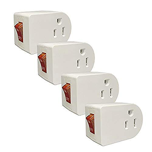 On Off Switches - Oviitech Grounded Outlet Wall Tap Adapter with Red Indicator On/Off Power Switch (4Pack)