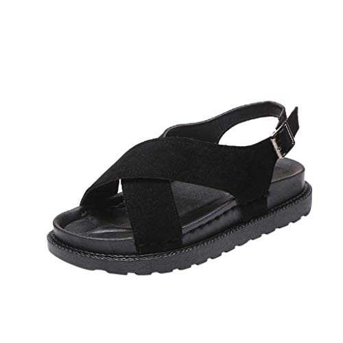 Hilotu Women Sandals Fashion Leisure Flat Round Toe Shoes Non-Slip Muffin Waterproof Platform Sandals (Color : Black, Size : 7 M US)
