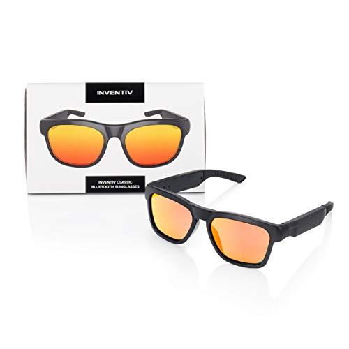 Inventiv Wireless Bluetooth Audio Sunglasses, Open Ear Headphones Music & Hands-Free Calling, for Men & Women, Polarized Glasses Lenses (Black Frame/Red Tint)
