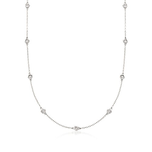 Ross-Simons 0.50 ct. t.w. Bezel-Set Diamond Station Necklace in 14kt White ()
