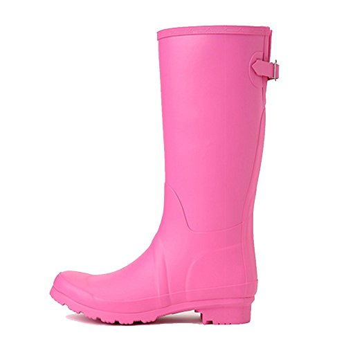 NAN Women's Classic Super Super Soft Rubber Waterproof Rubber Boots Rain Boots Ladies Low Heel Boots Adult Fashion Waterproof Shoes High Boots Shoes Anti-slip Rubber Shoes Boots (Color : Pink) s6NWTF