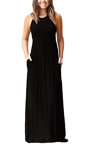 (PCEAIIH Women's Round Neck Sleeveless A-line Casual Maxi Dresses with Pockets Black-XXL)