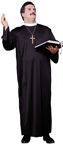 Forum Novelties Men's Plus-Size Full Figure Priest Costume, Black, -