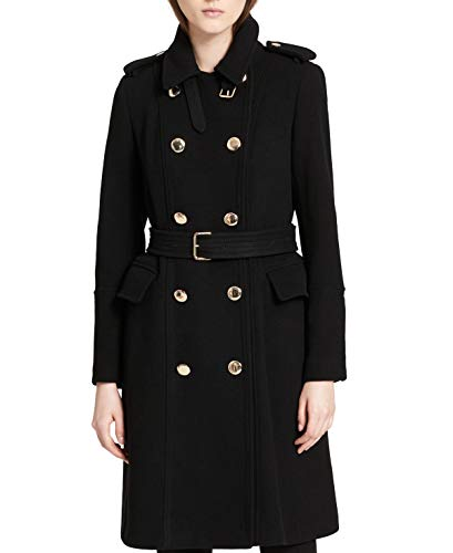 Calvin Klein Womens Double-Breasted Trench Coat Black 2 ()