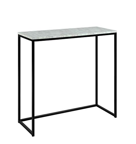Abington Lane Modern Marble Finish Console – Accent Table Entryway, Hallway, Living Room (White Marble Finish)